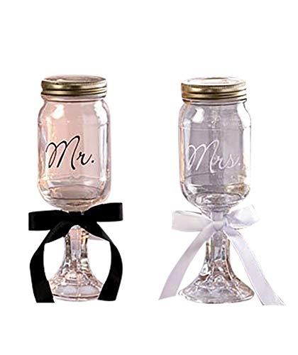 Sr. Y la Sra. Mason Jar Goblets Set
