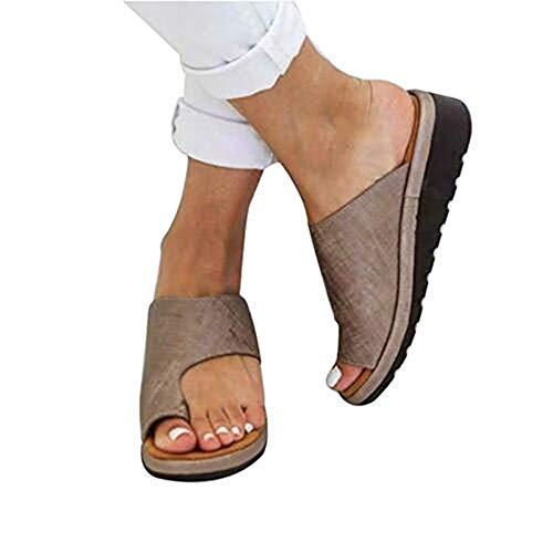 DOTBUY Damen Sandalen Sommer Plattform Sandale Schuhe, Frauen Bequeme Keilabsatz Elegant PU Leder Big Toe Hallux Valgus Unterstützung Sandale Schuhe Strand Reise Schuhe (CN38=240mm,Braun)