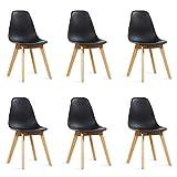 Designetsamaison Lot de 6 chaises scandinaves Noires - Onir