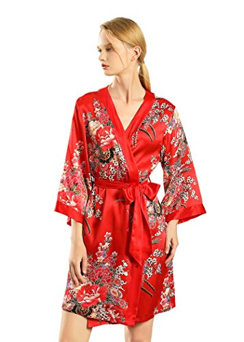 Dynasty Robes Damen Bademantel mit Kimonokragen, 100% Seide, Rot - Rot - Small