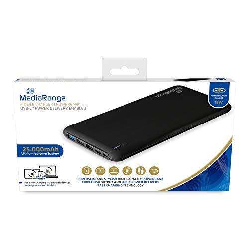 MediaRange Mobiles Ladegerät I Powerbank, 25.000mAh, mit USB-C™ Power Delivery Schnellladetechnologie