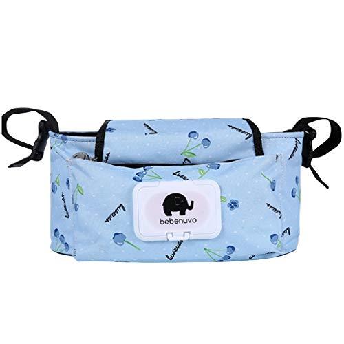 Kinderwagen-Organisator-Tasche, Kinderwagen-Buggy-Organisator für Buggies mit den Flausch-Bügel-Klipps wasserdicht auf täglichem Gebrauch (Blaubeere)