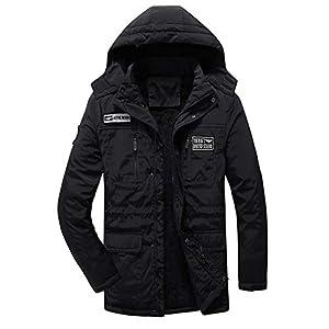 Men's Winter Coats with Hood Fleece Lining Casual Big and Tall Waist Drawstring