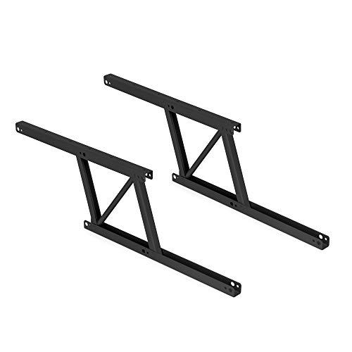Emuca - Juego de 2 mecanismos elevables para mesas de centro, Bisagra de Mesa elevadora, Pintado negro, Acero
