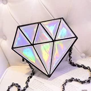 Gimax Top-Handle Bags - Fashion Hologram Bag Diamond Shape Women Messenger Bag Laser Holographic Bags Crossbody Chain Bag 9 Colors - (Color: Silver)