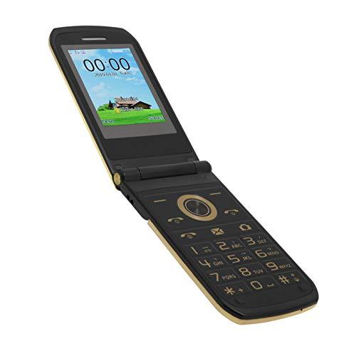 Teléfono celular plegable para personas mayores y niños,2.4 pulgadas Mini botón grande Teléfono móvil básico GSM Teléfono móvil con doble modo de espera para ancianos,32+32MB,3800mAh,dorado(EU)