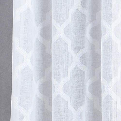 1 ST Moderne geometrische faux linnen gordijn semi-pure jacquard keuken korte gordijn slaapkamer woonkamer gordijnen raam behandelingen, Wit, W52inL96in 132x243cm