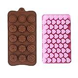 Sunbbingsp 2 Pcs Moldes de Chocolate Silicona, Diferentes Formas, Molde Corazon Silicona, Moldes Silicona Flores para Hornear para Muffins, Dulces y Chocolates(Color Chocolate, Rosa)