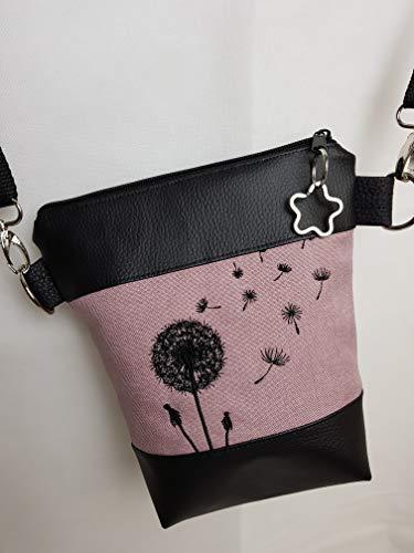 Kleine Handtasche Pusteblume rosa Umhängetasche Schultertasche Tasche mit Anhänger handmade Kunstleder