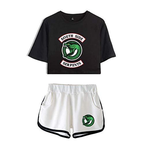Flyself Riverdale Southside Serpents Crop Top T-Shirts and Shorts Set Camiseta y Pantalón Sportwear Tracksuit Traje de Ropa para niñas y Mujeres