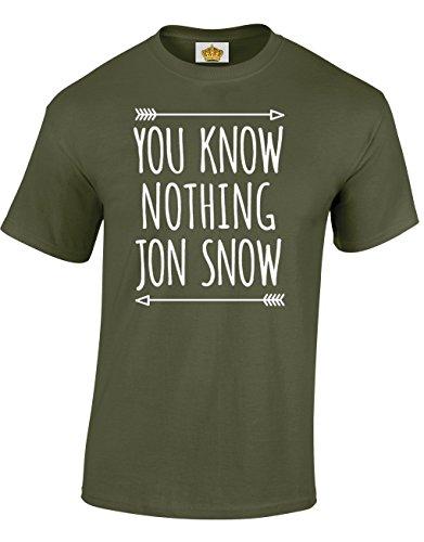 Crown Designs You Know Nothing Jon Snow Fantasie-Tv-Show Inspiriert Geschenk Für Männer Und Jugendliche T-Shirts Tops (Militär-Grün/Medium)