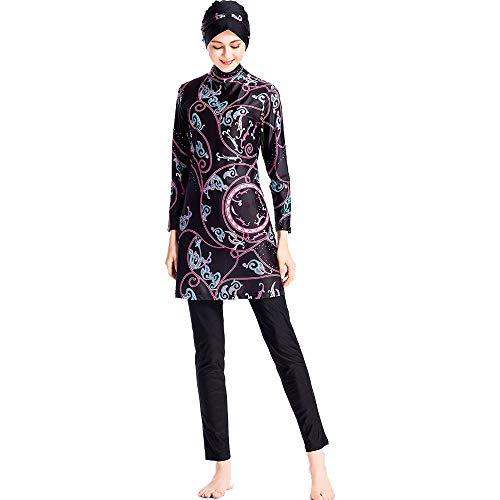 Grsafety Impresión Mujeres Musulmanas Traje de baño - 3 Piezas Modeste Burkini Completa Muslim Swimwear con Hijab Burqini Beachwear Tankini, Marrón, 4XL