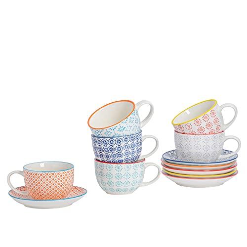 Nicola Spring Gemusterte Porzellan Cappuccino Tassen und Untertassen - 6 individuelle Designs - 250 ml - 6er-Set