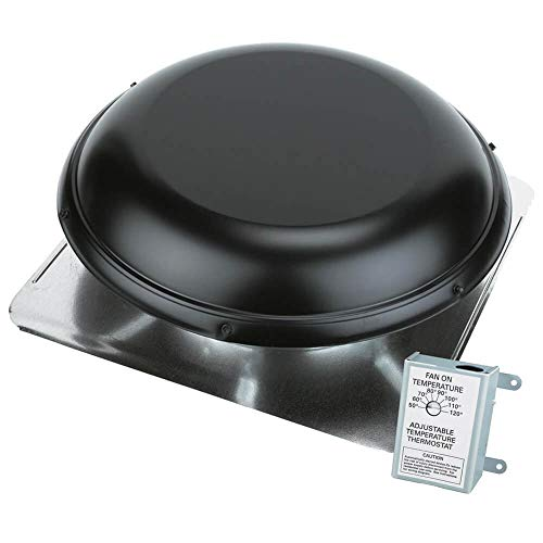 Air Vent Roof Mount Metal Vent with Thermostat (1170 CFM, Black)