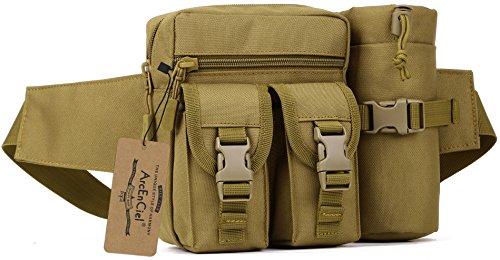 ArcEnCiel Tactical Fanny Pack Waist Bag Military Hip Belt Outdoor Fishing Bumbag with Water Bottle Pocket Holder (Coyote Brown)