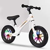 Formación del niño de bicicletas de titanio y magnesio aleación Sport Bike Balance Sin pedal Vespa Bicicleta con reposapiés Ultra Cool Colors empuje las bicis for niños 2-6 años ( Color : Blanco )