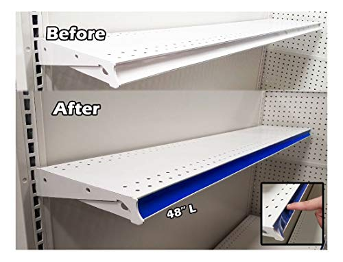 Blue! 100 Pack Gondola Shelving Pre Cut Insert Strip 48' x 1.25' Shelf C-Channel