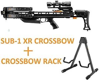 Mission Crossbow Sub-1 XR Hunting Pro Kit Package + Crossbow Rack Bundle   Black