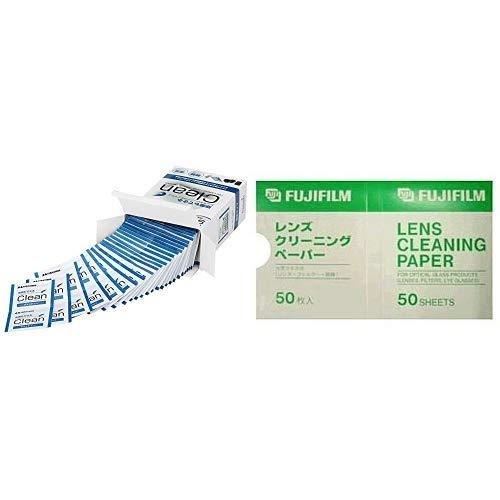 【セット買い】HAKUBA レンズクリーニングティッシュ 個装 100枚入り 速乾 除菌 ウェットタイプ KMC-78 & FUJIFILM レンズクリーニングペーパー LENS CLEANING PAPER 50