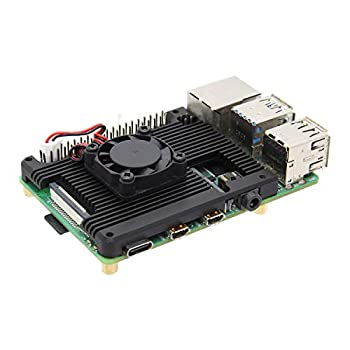 Geekworm Raspberry Pi 4 7mm Embedded Heatsink with Fan  P165-A  Raspberry Pi 4B Armor Aluminum Radiator with 5V Cooling Fan Compatible with Raspberry Pi 4 Model B Computer and Pi 4