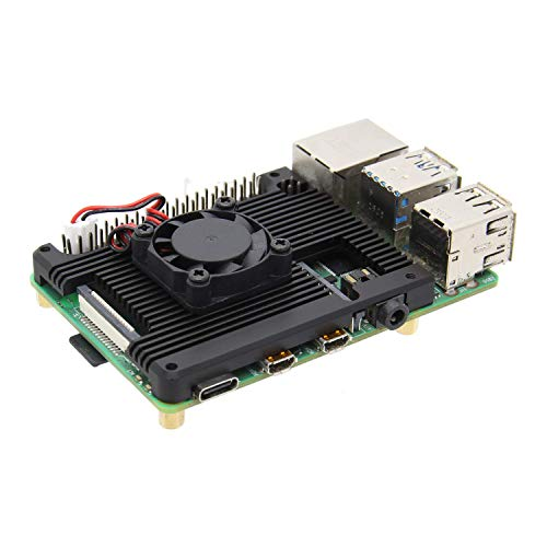Geekworm Raspberry Pi 4 7mm Embedded Heatsink with Fan (P165-A), Raspberry Pi 4B Armor Aluminum Radiator with 5V Cooling Fan Compatible with Raspberry Pi 4 Model B Computer and Pi 4