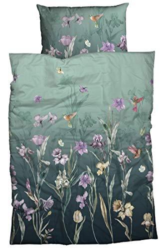 sister s. Satin Bettwäsche Fleur Reine Baumwolle, hautfreundlich, pflegeleichtes Bettwäsche-Set 135 cm x 200 cm seegrün Farbverlauf lila Blumen Kolibri Schmetterling