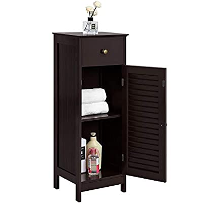 Yaheetech Wooden Bathroom Floor Cabinet, Free-Standing Storage Organizer Unit with Drawer and Single Door and Shelf, Console Sofa Side Table for Living Room/Hallway/Bedroom/Kitchen, White