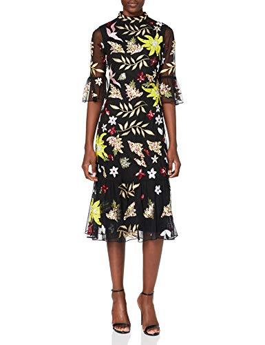Frock and Frill Damen Karaline Embroidered Midi Dress Formales Abendkleid, Black, Medium