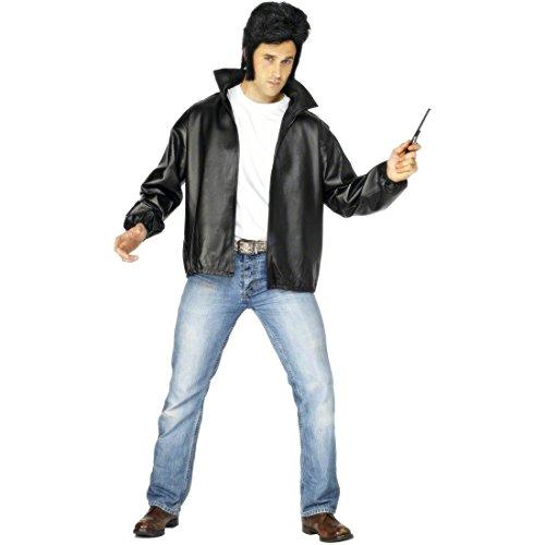 NET TOYS Veste Rock 'Roll années 50 et 60 Bird Grease Rockeur déguisement Taille M 48/50 Motard Tenue pour Homme déguisement de Carnaval Costume de Mardi Gras pour Homme Veste pour Homme