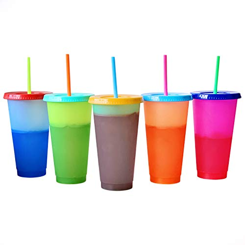 Color Changing Cold Drink Cups: 24oz Blank Cold Cups - 5 Reusable Cups, Lids and Straws - Summer Coffee Tumblers - Summer Cups, Set of 5 (Brights)