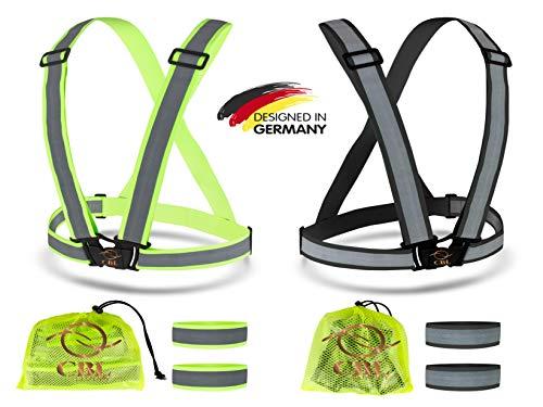 CBL LUXURY Reflektorweste [8er Set] Bestehend aus Fahrrad Warnweste, Armband und Netztasche Premium Reflective Vest in Zwei