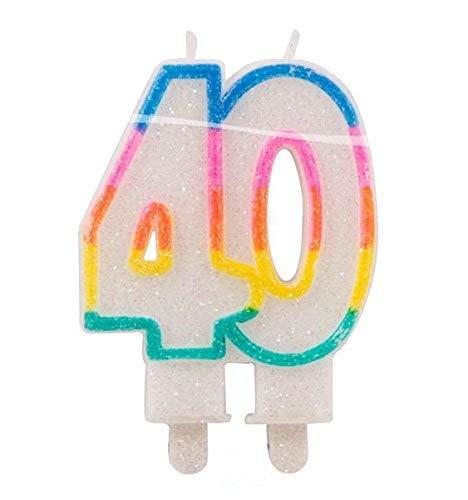 bb10 Schmuck Geburtstagskerze Zahl 40 Glitterkerze für 40.Geburtstag Kerze für Torte Tortenkerze Dekoration für Geburtstag Jubiläum Party oder andere Anlässe