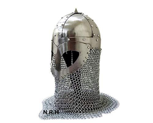 IMPACTNAUTICAL Nautical Replica Hub Viking Medieval Armor Chainmail Mask Helmet 18 Gauge Steel