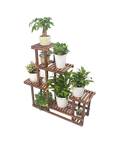 FFLSDR Anti-Corrosion Multi-Layer Solid Wood Flower Stand Roast 焗 Grill Bonsai Balcony Living Room Flower Stand