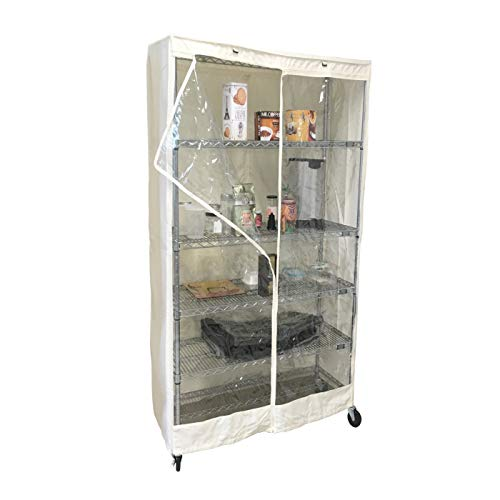 Storage Shelving Unit Cover Off White, Fits Racks 30'Wx24'Dx72'H Easy Organization with See Through Viewing Panel (Cover only)