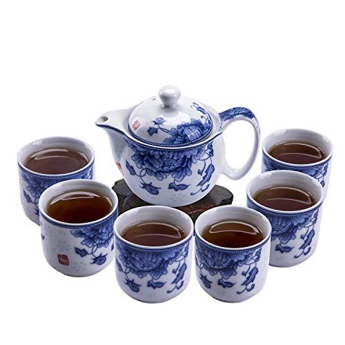 ufengke 7 Piezas Juego de Té Chino Kung Fu,Juego de Té de Porcelana Azul y Blanca para Kungfu,