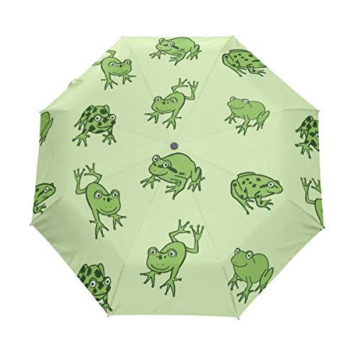 MyDaily Regenschirm mit lustigem Frosch-Tier-Motiv, automatisch, winddicht, leicht, kompakt, faltbar