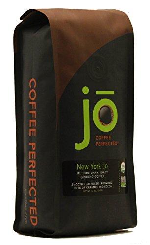 NEW YORK JO: 12 oz, Medium Dark Roast Organic Ground Coffee, 100% Arabica Coffee, USDA Certified Organic, NON-GMO, Fair Trade Certified, Gluten Free, Gourmet Coffee from Jo Coffee