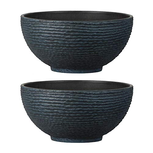 Stone Textured Effect Bowl Pot Plastic Planter, Set of 2 - Suitable for Indoor or Outdoor Use - 20cm (H) x 40.5cm (Dia)