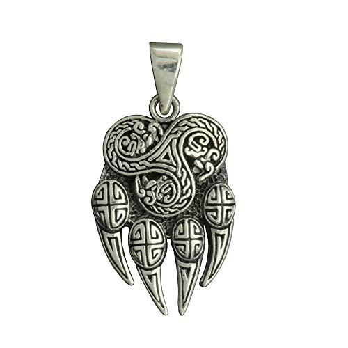 Beldiamo Colgante de plata de ley 925 de 6 g, diseño de pata de lobo y nudo celta de Fenrir para...