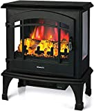TURBRO Suburbs TS23 Electric Fireplace Heater, Freestanding Fireplace Stove with Realistic Adjustable Flame Effect - CSA Certified - Overheating Safety Protection - Remote Control - 23' 1400W Black