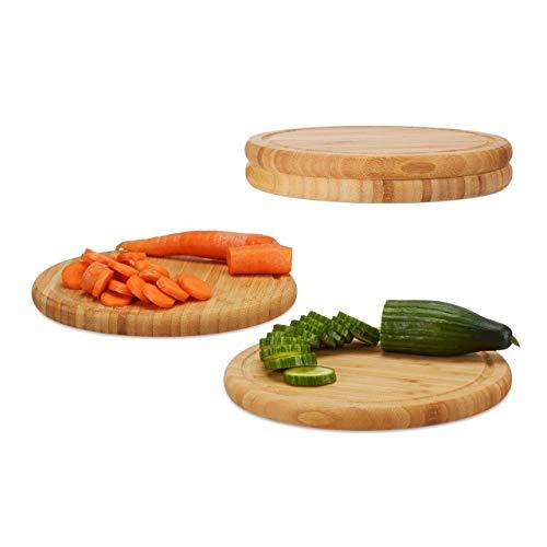 Relaxdays Juego de Tablas de Cortar para Cocina Redondas, Bambú, Beige, 2 x 25 x 25 cm, 4 Unidades