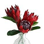 Silk Flower Arrangements Artificial Flowers Fake Silk Protea Cynaroides Plastic Flower Arrangements Decor Bouquet for Wedding Table Centerpieces 3pcs (Red)