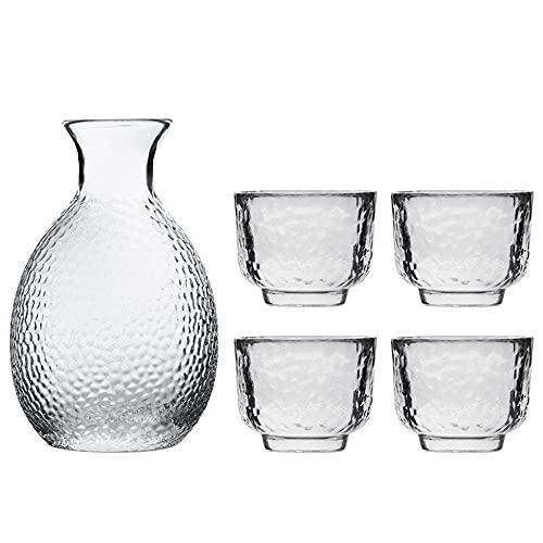 MDFQL Juego de ollas de Vidrio de Sake, Gafas de fríos japonesas, Claro diseño Flotante de Moda único, con 1 Botella de Jarra de Sake y 4 Copas de Saki, para el Frio/té, té,Ordinary
