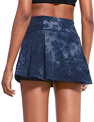 "BALEAF Women's 13"" High Waisted Tennis Skirts Summer Cute Golf Skorts with 4 Pockets for Casual Running Workout Sports Navy Medium"