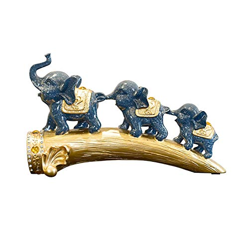 Artesanías decoración Scultura de elefantes de resina para la decoración del hogar y el regalo premium para el hogar afortunado elefantes estatuas feng shui figurine casa decoración de oficina Figura