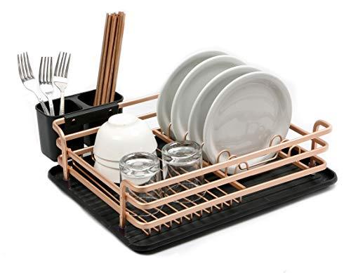 Abtropfgestell – Geschirr Abtropfkorb mit Besteckkorb und Abfluss – Besteck, Gläser und Tassen trocknen im Handumdrehen