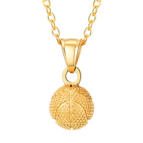 PROSTEEL 18k vergoldet Männer Frauen Collier 3D Basketball Anhänger Halskette 51+5 cm Rolokette Trendig Sport Schmuck Geschenk für Basketball Fan(Gold)