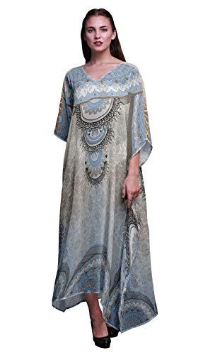 Phagun Floral Mandala señoras Tallas Grandes Kaftan Ropa de Verano Encubrimiento Kimono caftán-XL-3X