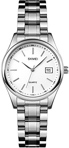 Unsix - Juego de 2 relojes con pulsera de acero inoxidable, lujosos, analógicos, de cuarzo, fecha, para hombre y mujer, resistente al agua, para hombres y mujeres, elegante set